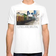 Urban Brutality  White Mens Fitted Tee SMALL