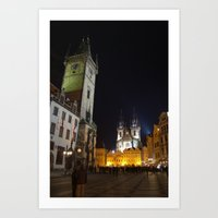 Old Town Square at Night, Prague  Art Print