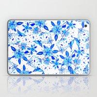 China blue floral paisley watercolor pattern Laptop & iPad Skin