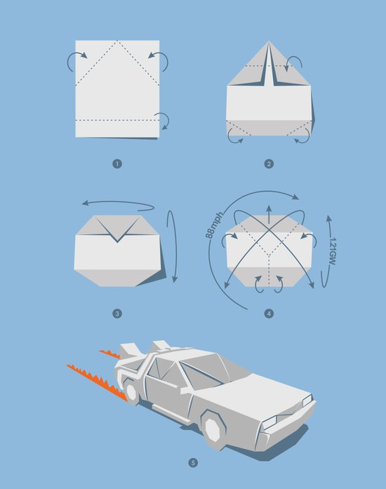 Origami DeLorean Art Print