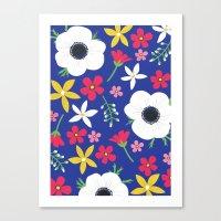 Betty Blue Floral Canvas Print