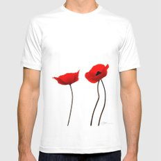 Simply poppies SMALL Mens Fitted Tee White