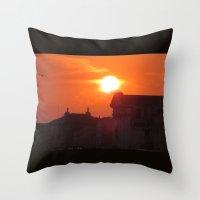 Dark Buildings And Sun  Throw Pillow