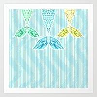 Mermaids and Stripes Art Print