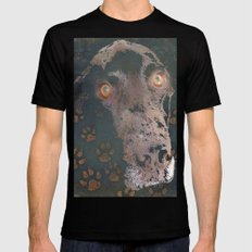 leaving his print SMALL Black Mens Fitted Tee
