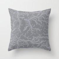 Ferning - Gray Throw Pillow