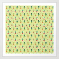Cactus Party Pattern Art Print