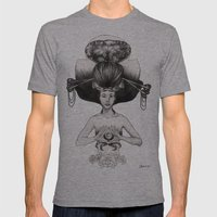 CANCER - Black and White Version Mens Fitted Tee Athletic Grey SMALL