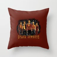 Throw Pillow featuring Space Cowboys by The Cracked Dispensa…