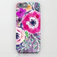 RED ANEMONE SPRAY FLORAL iPhone 6 Slim Case