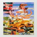 Glitch Pin-Up: Xena Canvas Print