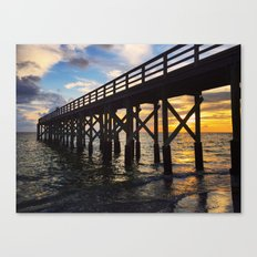 Long Pier over Ocean at Sunset Canvas Print