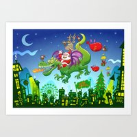 Santa changed his reindeer for a dragon Art Print