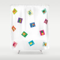 Fruit: Lemon & Persimmon Shower Curtain