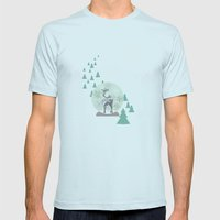 Reindeer Snowglobe Mens Fitted Tee Light Blue SMALL