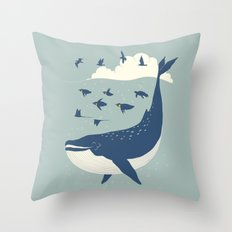 Fly in the sea Throw Pillow