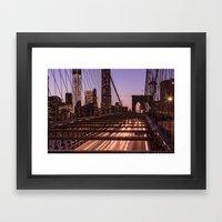 Brooklyn Bridge By Night Framed Art Print