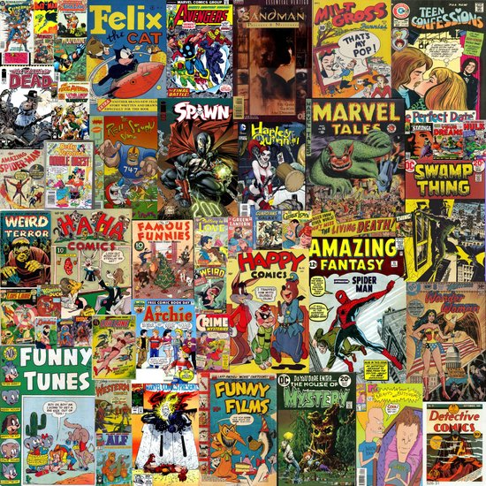 Book Cover Collage Poster ~ Comic book cover collage art print by silvio ledbetter