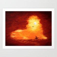 The Horizon Lion Art Print
