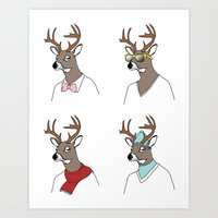 Seasonal Deer Art Print
