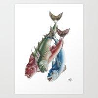 INKYFISH - Fish Friends Art Print