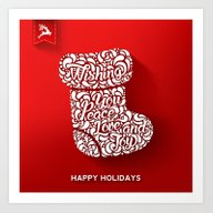Happy Holidays - Boot Art Print