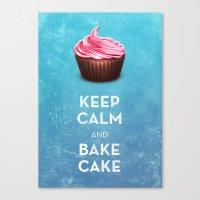 Keep Calm & Bake Cake Canvas Print