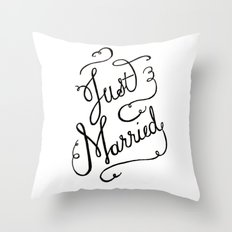 Just Married - hand lettered wedding sign, clligraphy Throw Pillow