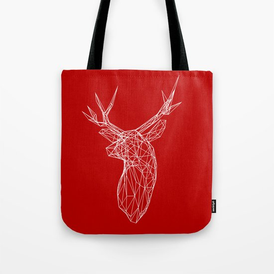 3D Stag Trophey Head Wire Frame Tote Bag
