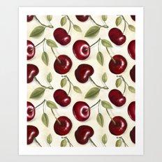 Cherries pattern Art Print