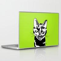 black cat Laptop & iPad Skins featuring Black cat by LaDa