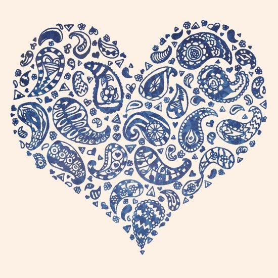 Blue Brocade Paisley Heart Art Print