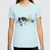 Butterflies Womens Fitted Tee Light Blue SMALL