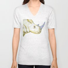 Striped Rhino Illustration Unisex V-Neck