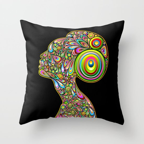 Woman Psychedelic Art Design Portrait Throw Pillow