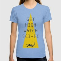 watch sci-fi Womens Fitted Tee Tri-Blue SMALL