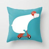 Polar Bear On Scooter Throw Pillow