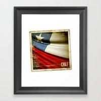 Chile Grunge Sticker Fla… Framed Art Print