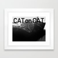 Cat On Cat Framed Art Print