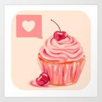Cherry Heart Cupcake Art Print