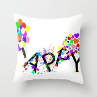 Just Happy Throw Pillow