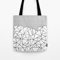 Abstract Outline Grid Bl… Tote Bag