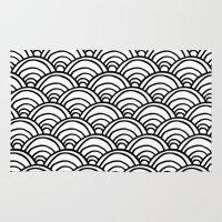 Waves All Over - Black A… Rug