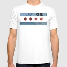 Ephemeral Chicago Flag White SMALL Mens Fitted Tee