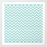 Teal Blue Chevron Art Print