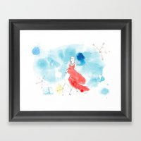 Christmas girl in the snow Framed Art Print