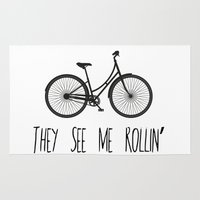 They See Me Rollin' Bicycle - Women's Cruiser City Bike Cycling  Rug