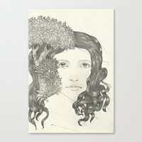 Graphite Trees Canvas Print