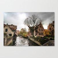 Brugge In The Rain Canvas Print