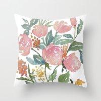 Floral poster Throw Pillow